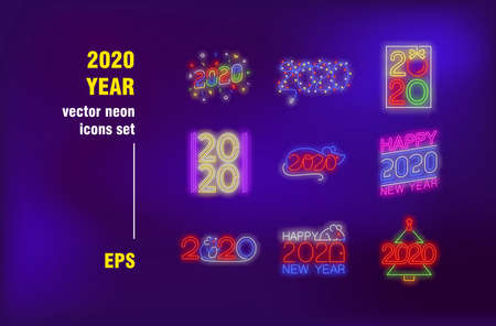 New 2020 Year neon signs set. Numbers, rat, fairy light, Christmas tree. Night bright advertising. Vector illustration in neon style for festive banners, postcards, greeting cards design Ilustrace