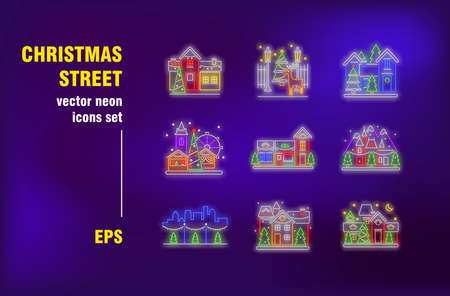 Christmas street neon signs set. Houses with decoration, fairy lights and ornament. Night bright advertising. Vector illustration in neon style for New Year banners, travel flyers, posters design
