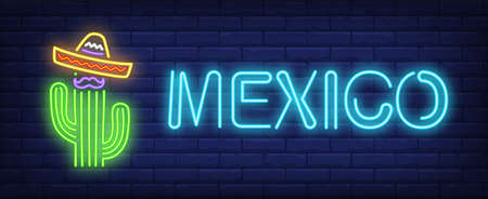 Mexico neon text with sombrero on cactus. Mexican culture design. Night bright neon sign, colorful billboard, light banner. illustration in neon style.