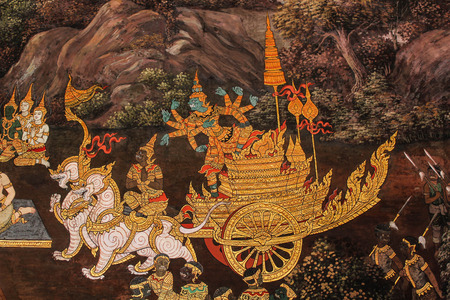 ate: Wat Phra Kaew wall painting ate in Thailand about ramayana story Editorial