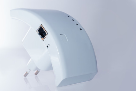 wep: wifi repeater for communication with the Internet on  white background Stock Photo