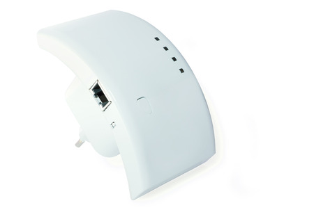 repeater: wi-fi repeater for communication with the Internet on  white background