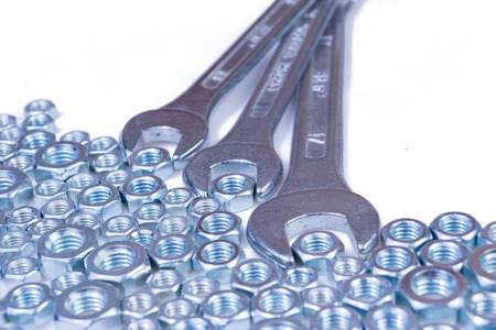 chromeplated: metal chromeplated six-sided nuts and wrench