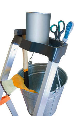 detai: stepladder element with tools on white background Stock Photo