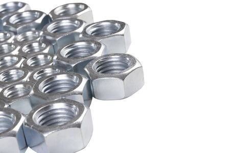chromeplated: steel chromeplated nuts on white background