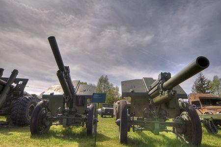 artillery: 2x Anti-tank artillery  Stock Photo