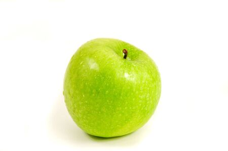 granny smith apple: green granny smith apple isolated on white background