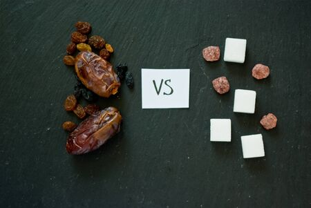 healthy natural dried fruits versus rafinated sugars as a concept of choice