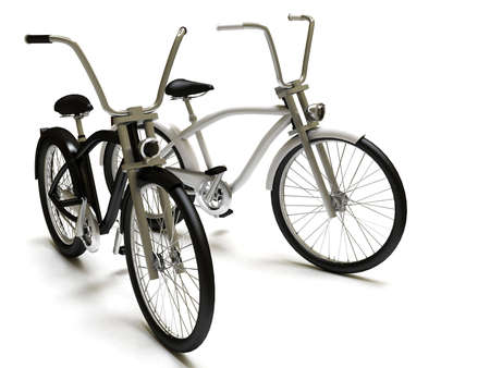 Black and white cruisers bicycle Stock Photo