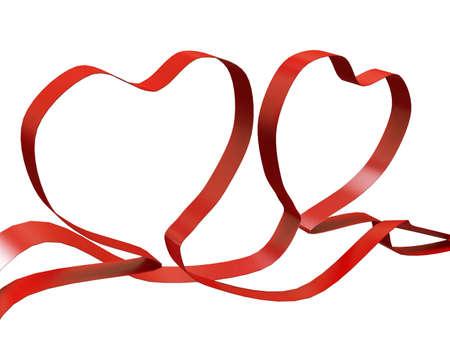 heart shaped red ribbon valentine Stock Photo - 6355693