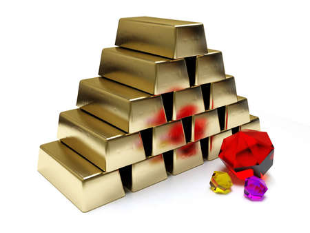3d gold bars and colored brilliants