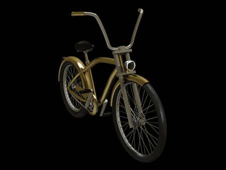 cruiser bike: Gold cruiser bike isolated on black