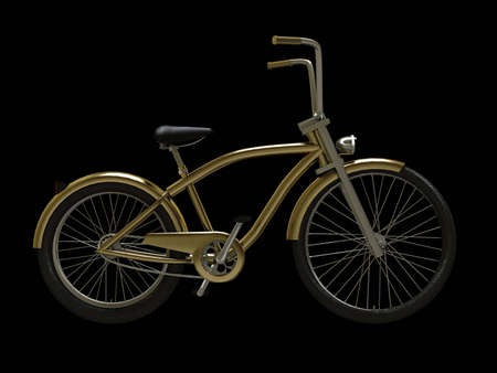 Gold cruiser bike isolated on black