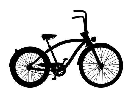 cruiser bike: cruiser bike isolated on white silhouette