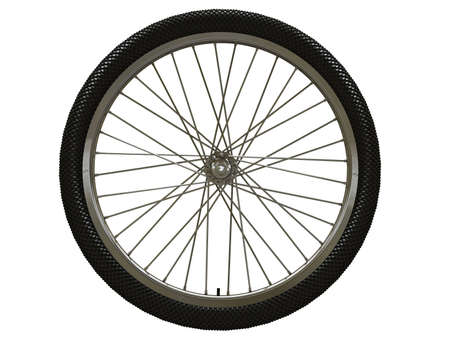 pneumatic: Bicycle wheel isolated on white Stock Photo