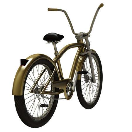 Gold cruiser bike isolated on white