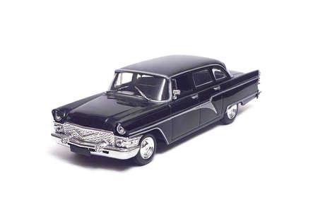 Black retro car, isolated on white background