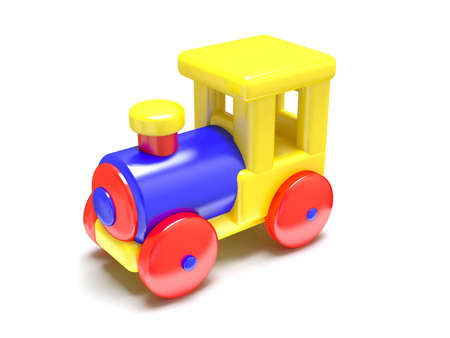 Cartoon toy train, isolated on white background photo