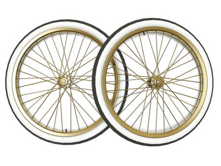 Bicycle vintage wheel, white wall, isolated on white