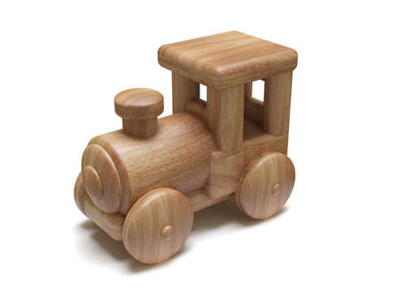 wood railway: Wooden toy train, isolated on white