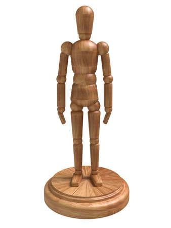 Standing wooden figure. Isolated on white