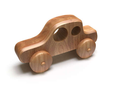 Wooden toy car. Isolated on white Stock Photo