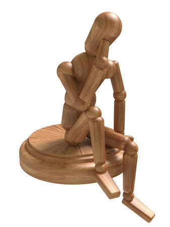 wooden figure: Sitting wooden figure. Isolated on white Stock Photo
