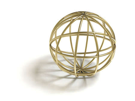 Golden wire sphere. Isolated on white