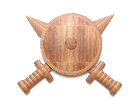 Wooden shield with two swords  Stock Photo