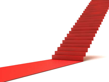 path to success: Career stairs. Red carpet