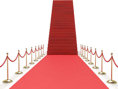 path to wealth: Career stairs. Red carpet