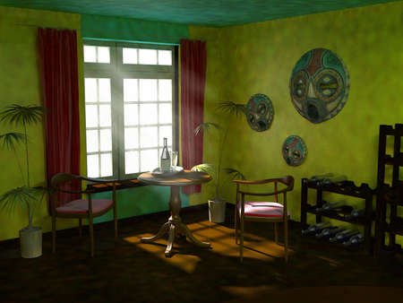 Mexican interior. 3d visualization  photo