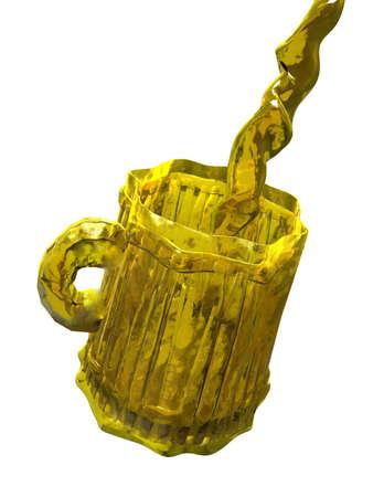 Liquid cup of beer.