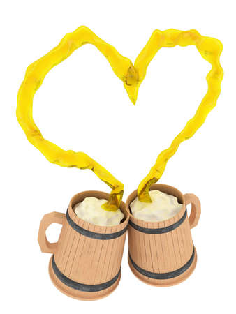 Love beer. Two cups. Heart splash. 3D visualization photo