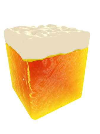 Beer cube,  3D visualization Stock Photo