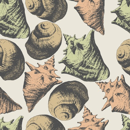 cockleshell: Seamless pattern with different shells on a light background