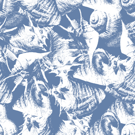 Seamless pattern with different shells on a blue background Vector
