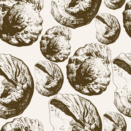 Seamless pattern with different shells on a light background Vector