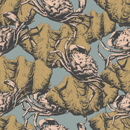 crabby: Seamless pattern with different crabs and shells