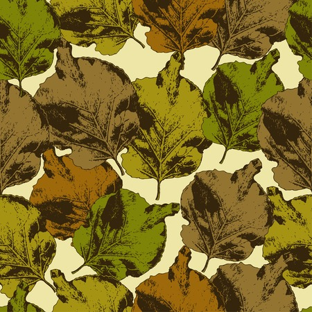 herbarium: Seamless pattern with different colored leaves