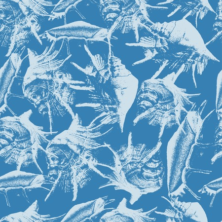 cockleshell: Seamless pattern with different shells on a blue background