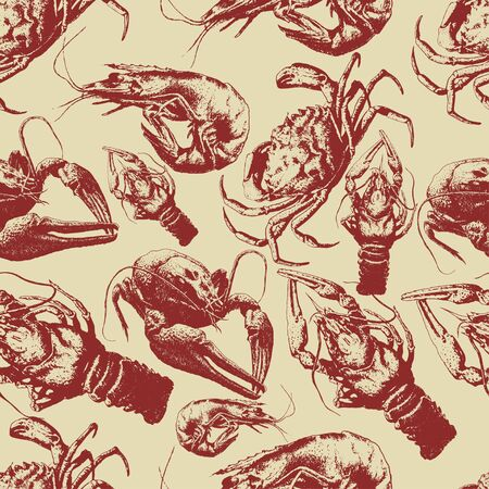 Seamless pattern with  cancers and crabs on a light background Illustration