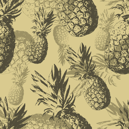 seamless pattern with pineapple. hand drawn