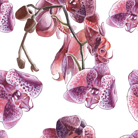 Seamless pattern with watercolor orchid. Hand drawn.