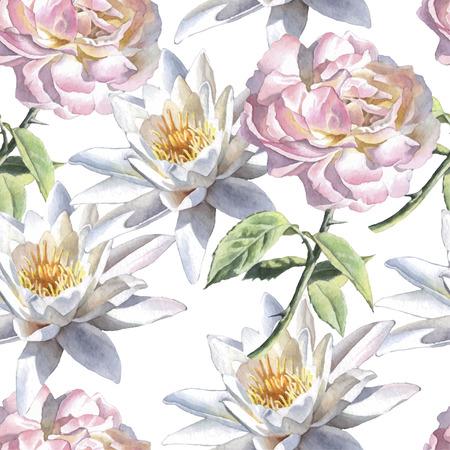수채화 꽃 원활한 패턴입니다. 장미와 백합. 벡터. 손으로 그린.