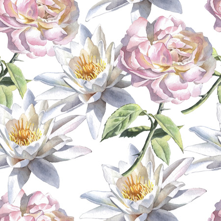 Seamless pattern with watercolor flowers. Rose and lily. Vector. Hand drawn. Ilustração