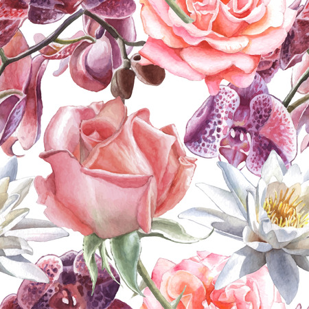 Seamless pattern with watercolor flowers. Rose, orchid and lily.  Vector. Hand drawn.
