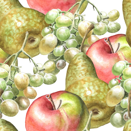 raisin: Seamless pattern with watercolor fruits. Hand drawn.