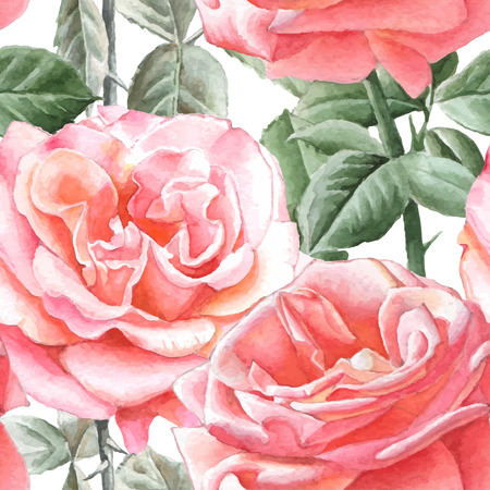 Seamless pattern with watercolor roses. Hand drawn.