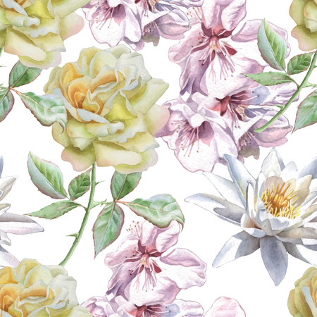 Seamless pattern with watercolor flowers. Rose, sakura and lily. Vector. Hand drawn. Ilustração